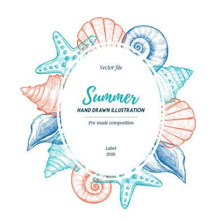 Summer seashell label. Hand drawn vector illustration. Marine pre-made composition. Perfect for invitations, greeting cards, posters, prints, banners, flyers etc