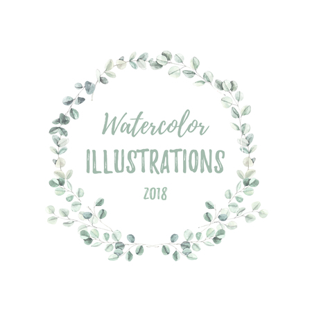 Watercolor botanical illustration. Branches and leaves of green eucalyptus. Botanical design elements. Perfect for wedding invitations, cards, frames, posters, packing.