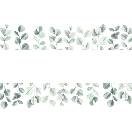 Watercolor botanical illustration. Branches and leaves of green eucalyptus. Botanical design elements. Perfect for wedding invitations, cards, frames, posters, packing. Archivio Fotografico - 125576027