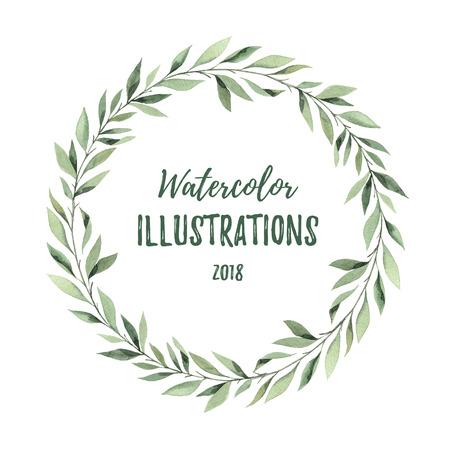 Hand getekend aquarel illustratie. Botanische krans van groene takken en bladeren. Zomerstemming. Floral Design-elementen. Perfect voor uitnodigingen, wenskaarten, prints, posters, verpakking
