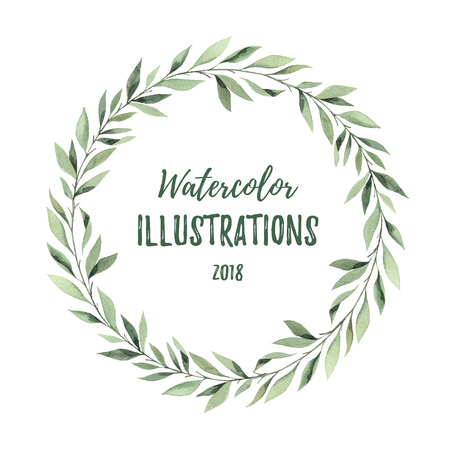 Hand drawn watercolor illustration. Botanical wreath of green branches and leaves. Summer mood. Floral Design elements. Perfect for invitations, greeting cards, prints, posters, packing