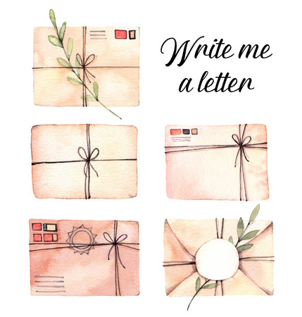 Hand drawn watercolor illustrations. Set of envelopes with floral branches. Mail, letter, post. Perfect for invitations, greeting cards, prints, posters, packing