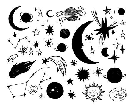 Illustrations vectorielles dessinés à la main. Éléments spatiaux. Objets cosmiques de doodle (planètes, étoiles, lune, soleil, constellation). Style d'esquisse