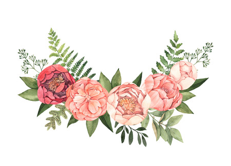 Watercolor illustration. Botanical wreath with green leaves, herbs, branches and peonies. Fern, eucalyptus. Floral composition. Perfect for invitations, cards, posters, prints, web 版權商用圖片
