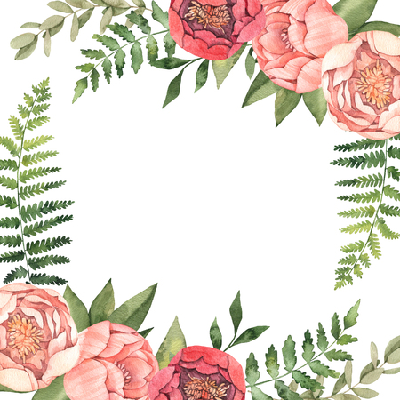 Watercolor illustration. Botanical frame with green leaves, herbs, branches and peonies. Fern, eucalyptus. Floral compositions. Perfect for wedding invitations, greeting cards, posters, prints, web