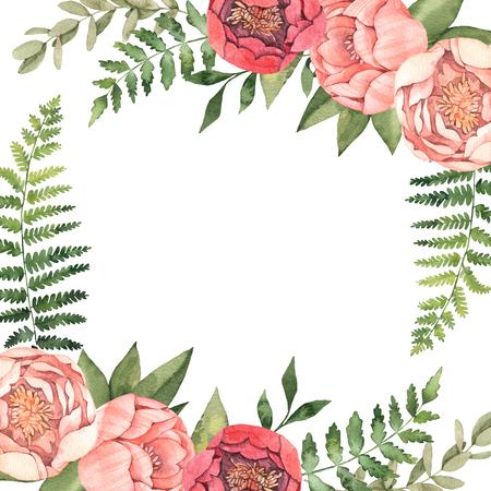 Aquarellillustration. Botanischer Rahmen mit grünen Blättern, Kräutern, Zweigen und Pfingstrosen. Farn, Eukalyptus. Blumenkompositionen. Vervollkommnen Sie für Hochzeitseinladungen, Grußkarten, Plakate, Drucke, Web Standard-Bild