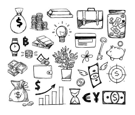 Ilustraciones vectoriales dibujadas a mano - Ahorre dinero. Elementos de diseño de croquis. Finanzas, pagos, bancos, efectivo, trébol de cuatro hojas, hucha. Perfecto para presentaciones de negocios, web, bunners, publicidad. Ilustración de vector