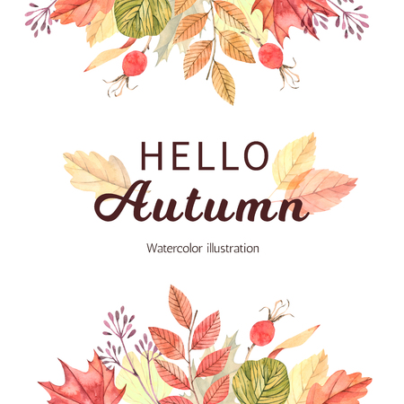 Hand drawn watercolor illustration. Frame with fall leaves. Forest design elements. Hello Autumn! Perfect for seasonal advertisement, invitations, cards Reklamní fotografie