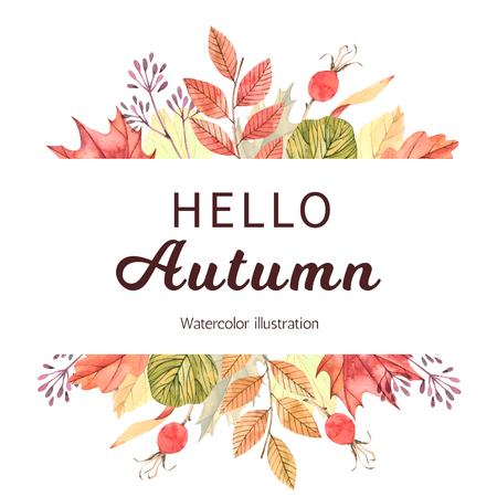 Hand drawn watercolor illustration. Frame with fall leaves. Forest design elements. Hello Autumn! Perfect for seasonal advertisement, invitations, cards Stock Photo