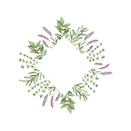 Watercolor illustration. Frame with botanical green leaves, herbs and branches. Floral Design elements. Perfect for wedding invitations, greeting cards, blogs, prints, postcards Reklamní fotografie