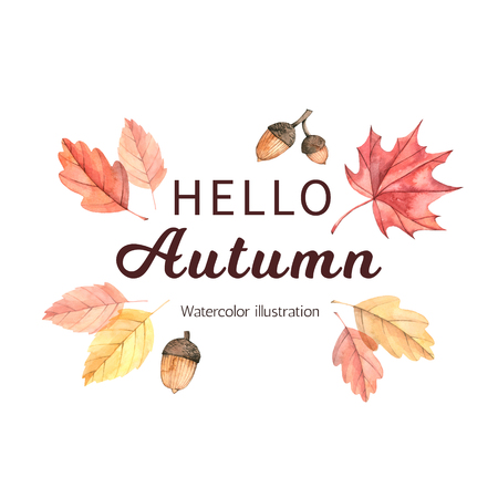 Hand drawn watercolor illustration. Text composition with fall leaves and acons. Forest design elements. Hello Autumn! Perfect for seasonal advertisement, invitations, cards