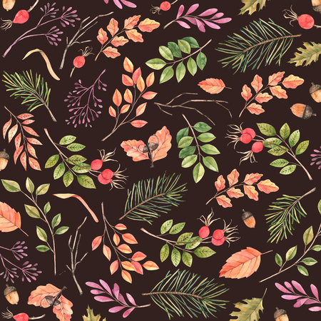 Hand drawn watercolor pattern. Background with Fall leaves. Forest design elements. Hello Autumn! Perfect for seasonal packing, wrapping paper, textile Archivio Fotografico - 124958775