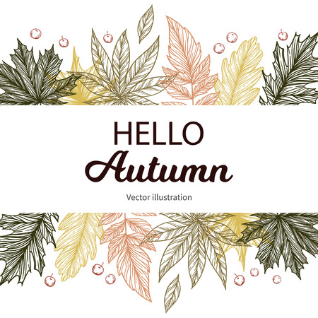 Hand drawn vector illustration. Background with Fall leaves. Forest design elements. Hello Autumn! Perfect for seasonal advertisement Vectores