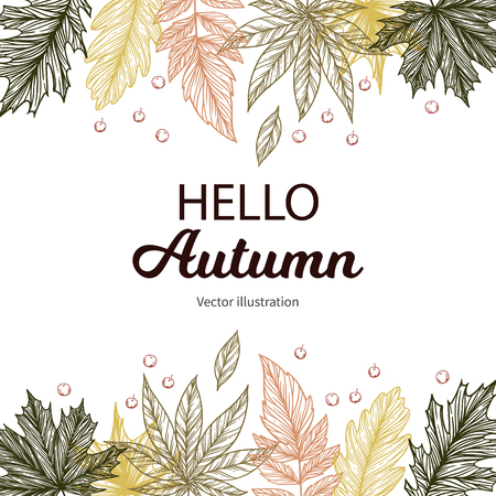 Hand drawn vector illustration. Background with Fall leaves. Forest design elements. Hello Autumn! Perfect for seasonal advertisement Stock Illustratie
