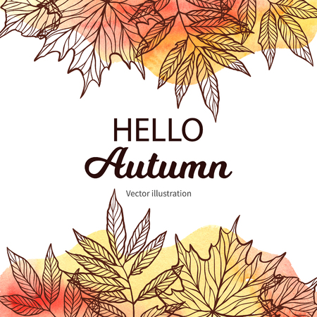 Hand drawn vector illustration. Frame with Fall leaves and watercolor background. Forest design elements. Hello Autumn! Perfect for seasonal advertisement Illusztráció