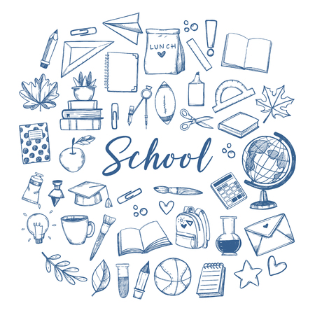 Hand drawn vector illustration - Back to school background. Sketch design elements. Education, study, teacher, school supplies. Perfect for notebook, presentations, web, bunners, advertising