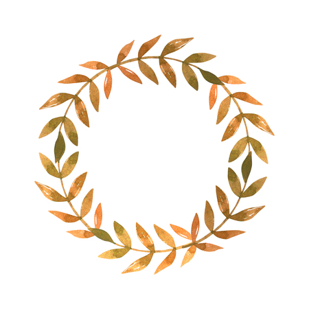 Hand drawn watercolor illustration. Wreath with fall leaves. Forest design elements. Hello Autumn! Perfect for seasonal advertisement, invitations, cards
