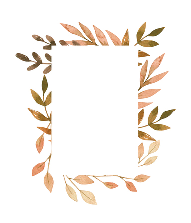 Hand drawn watercolor illustration. Frame with fall leaves, spruce branch and berries. Forest design elements. Hello Autumn! Perfect for seasonal advertisement, invitations, cards Archivio Fotografico - 124958800