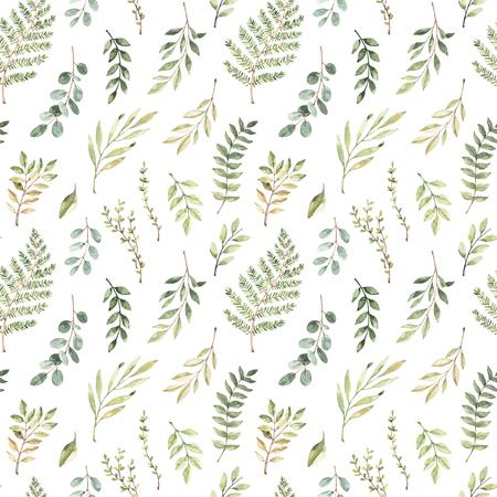 Spring watercolor seamless pattern. Botanical background with eucalyptus, branches, fern and leaves. Greenery illustration. Floral Design. Perfect for invitations, wrapping paper, textile, fabric Archivio Fotografico - 124958799