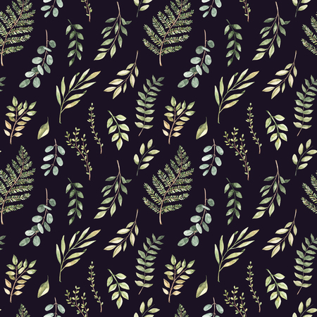 Spring watercolor seamless pattern. Botanical background with eucalyptus, branches, fern and leaves. Greenery illustration. Floral Design. Perfect for invitations, wrapping paper, textile, fabric Archivio Fotografico - 124958807