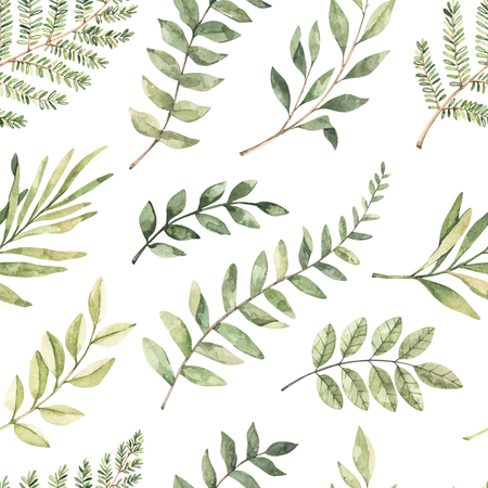 Spring watercolor seamless pattern. Botanical background with eucalyptus, branches, fern and leaves. Greenery illustration. Floral Design. Perfect for invitations, wrapping paper, textile, fabric