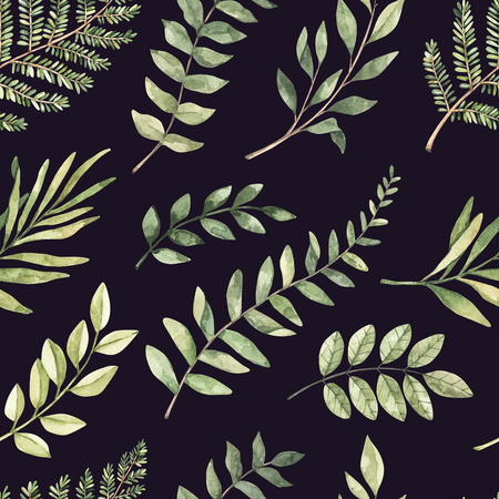 Spring watercolor seamless pattern. Botanical background with eucalyptus, branches, fern and leaves. Greenery illustration. Floral Design. Perfect for invitations, wrapping paper, textile, fabric Archivio Fotografico - 124958808