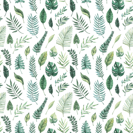 Watercolor seamless pattern. Summer tropical background. Tropical palm leaves (monstera, areca, fan, banana). Perfect for invitations, prints, packing, fabric, textile, wrapping paper Archivio Fotografico - 124958812