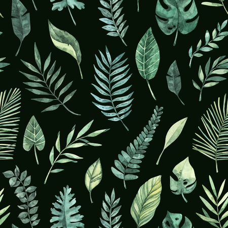 Watercolor seamless pattern. Summer tropical background. Tropical palm leaves (monstera, areca, fan, banana). Perfect for invitations, prints, packing, fabric, textile, wrapping paper