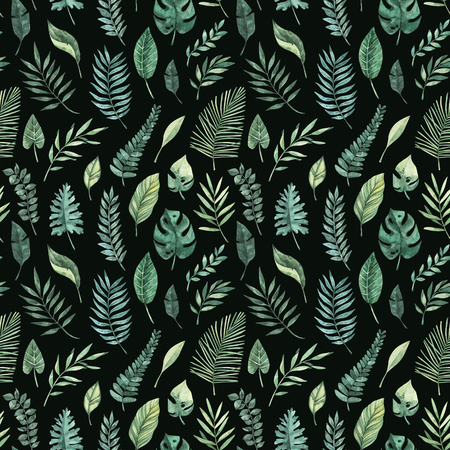 Watercolor seamless pattern. Summer tropical background. Tropical palm leaves (monstera, areca, fan, banana). Perfect for invitations, prints, packing, fabric, textile, wrapping paper Archivio Fotografico - 124958813