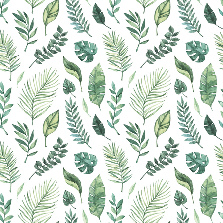 Watercolor seamless pattern. Summer tropical background. Tropical palm leaves (monstera, areca, fan, banana). Perfect for invitations, prints, packing, fabric, textile, wrapping paper Archivio Fotografico - 124958814
