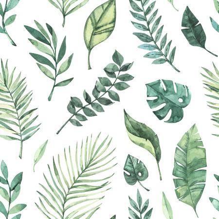 Watercolor seamless pattern. Summer tropical background. Tropical palm leaves (monstera, areca, fan, banana). Perfect for invitations, prints, packing, fabric, textile, wrapping paper Archivio Fotografico - 124958830