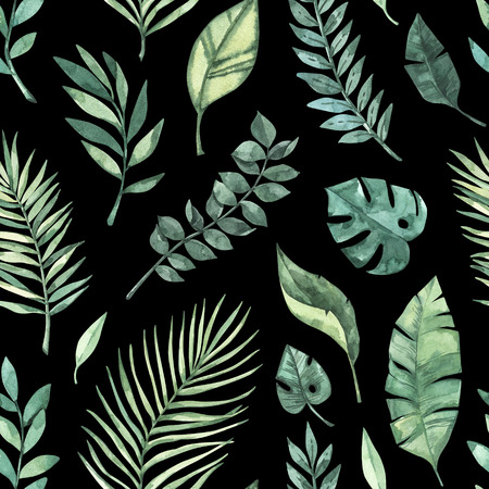 Watercolor seamless pattern. Summer tropical background. Tropical palm leaves (monstera, areca, fan, banana). Perfect for invitations, prints, packing, fabric, textile, wrapping paper Archivio Fotografico - 124958815