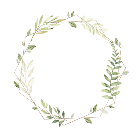 Hand drawn watercolor illustration. Geometric gold frame with botanical branches and leaves. Greenery. Floral Design elements. Perfect for wedding invitations, cards, prints, posters, packing Archivio Fotografico - 124958831