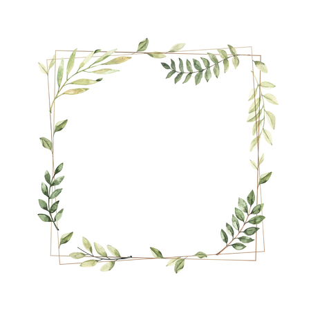 Hand drawn watercolor illustration. Geometric gold frame with botanical branches and leaves. Greenery. Floral Design elements. Perfect for wedding invitations, cards, prints, posters, packing Reklamní fotografie