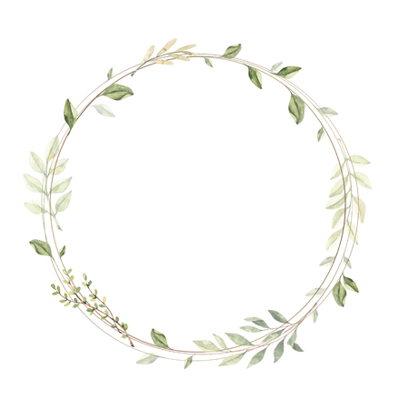 Hand drawn watercolor illustration. Circle gold frame with botanical branches and leaves. Greenery. Floral Design elements. Perfect for wedding invitations, cards, prints, posters, packing