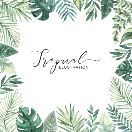 Watercolor illustration. Summer tropical frame. Tropical palm leaves (monstera, areca, fan, banana). Perfect for wedding invitations, prints, greeting card, posters