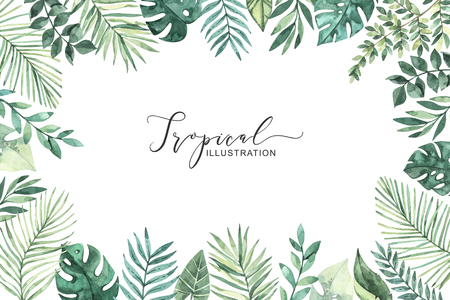 Watercolor illustration. Summer tropical frame. Tropical palm leaves (monstera, areca, fan, banana). Perfect for wedding invitations, prints, greeting card, posters Archivio Fotografico - 124958837