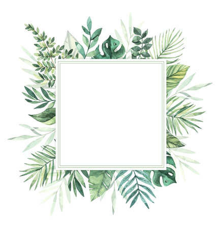 Watercolor illustration. Summer tropical label. Tropical palm leaves (monstera, areca, fan, banana). Perfect for wedding invitations, prints, greeting card, posters Archivio Fotografico - 124958838