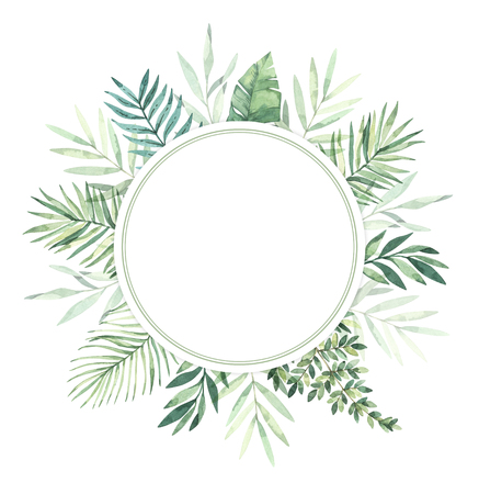 Watercolor illustration. Summer tropical label. Tropical palm leaves (monstera, areca, fan, banana). Perfect for wedding invitations, prints, greeting card, posters Archivio Fotografico - 124958846