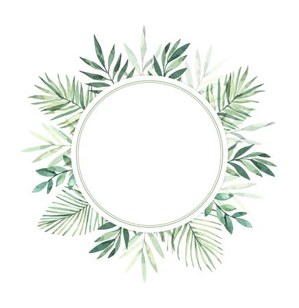 Watercolor illustration. Summer tropical label. Tropical palm leaves (monstera, areca, fan, banana). Perfect for wedding invitations, prints, greeting card, posters