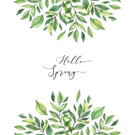 Hand drawn watercolor illustration. Pre made compositions with botanical spring leaves. Greenery frame. Floral Design elements. Perfect for wedding invitations, cards, prints, posters Reklamní fotografie