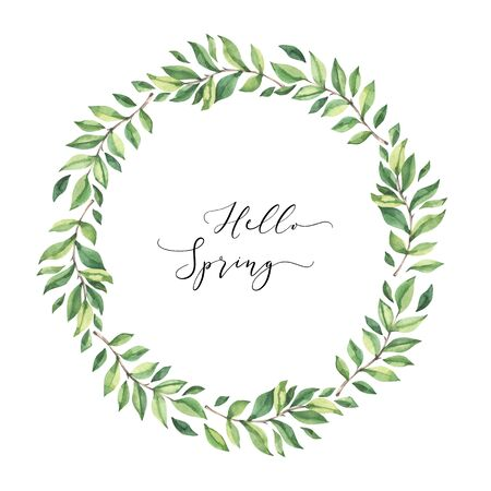 Hand drawn watercolor illustration. Wreath with botanical spring leaves. Greenery. Floral Design elements. Perfect for wedding invitations, cards, prints, posters Archivio Fotografico - 124958850