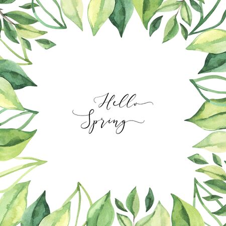 Hand drawn watercolor illustration. Pre made compositions with botanical spring leaves. Greenery frame. Floral Design elements. Perfect for wedding invitations, cards, prints, posters Stock Photo