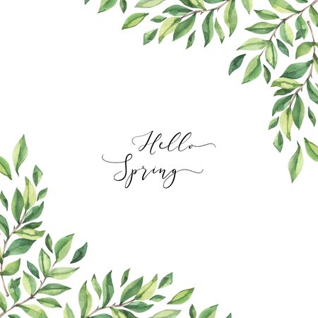 Hand drawn watercolor illustration. Composition with botanical spring branches and leaves. Greenery. Floral Design elements. Perfect for wedding invitations, cards, prints, posters Reklamní fotografie