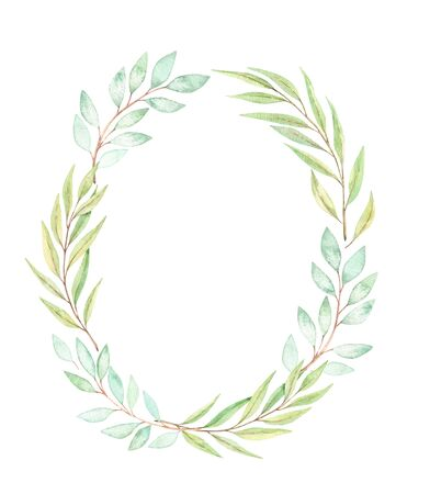 Hand drawn watercolor illustration. Botanical wreath with eucalyptus, branches and leaves. Greenery. Floral spring Design elements. Perfect for wedding invitations, cards, prints, posters