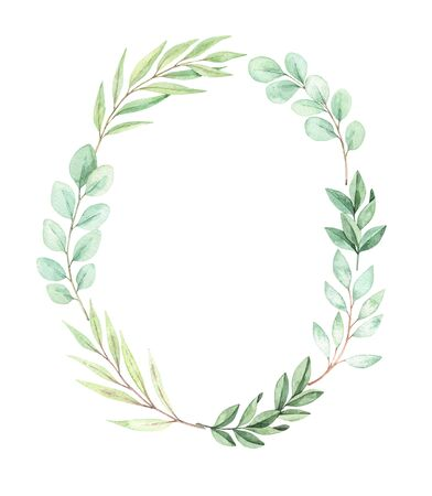Hand drawn watercolor illustration. Botanical wreath with eucalyptus, branches and leaves. Greenery. Floral spring Design elements. Perfect for wedding invitations, cards, prints, posters Archivio Fotografico - 124958873