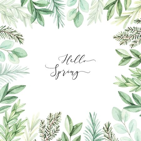 Hand drawn watercolor illustration. Botanical frame with eucalyptus, branches and leaves. Greenery. Floral Design elements. Perfect for wedding invitations, cards, prints, posters, packing Archivio Fotografico - 124958877