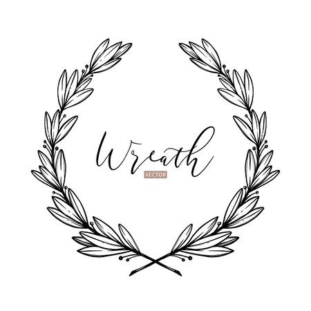 Hand drawn vector illustration. Botanical laurel wreath with branches and leaves. Floral design elements. Perfect for weddng invitations, greeting cards, posters