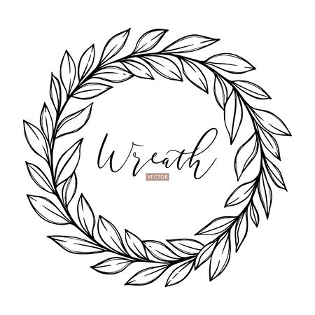 Hand drawn vector illustration. Botanical laurel wreath with branches and leaves. Floral design elements. Perfect for weddng invitations, greeting cards, posters, logo