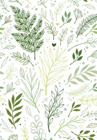 Spring seamless pattern. Botanical background with eucalyptus, branches, fern and leaves. Floral Design. Greenery. Hand drawn illustration. Perfect for invitations, wrapping paper, textile, fabric